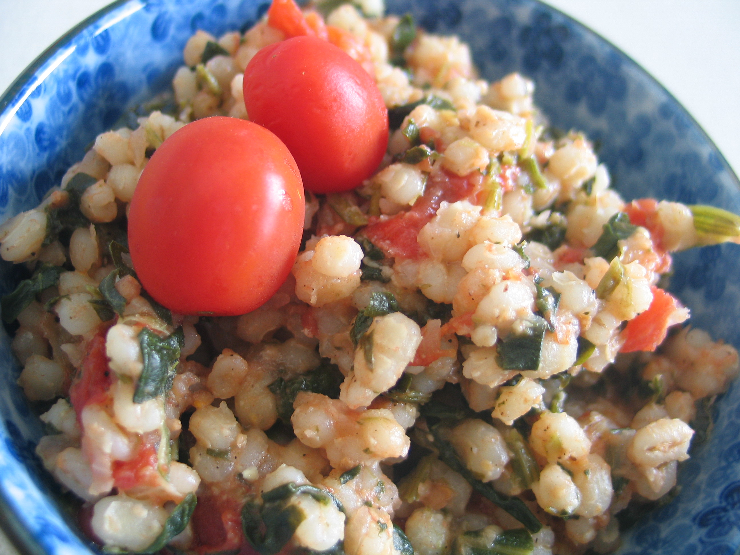 Tomato, Spinach and Barley Risotto