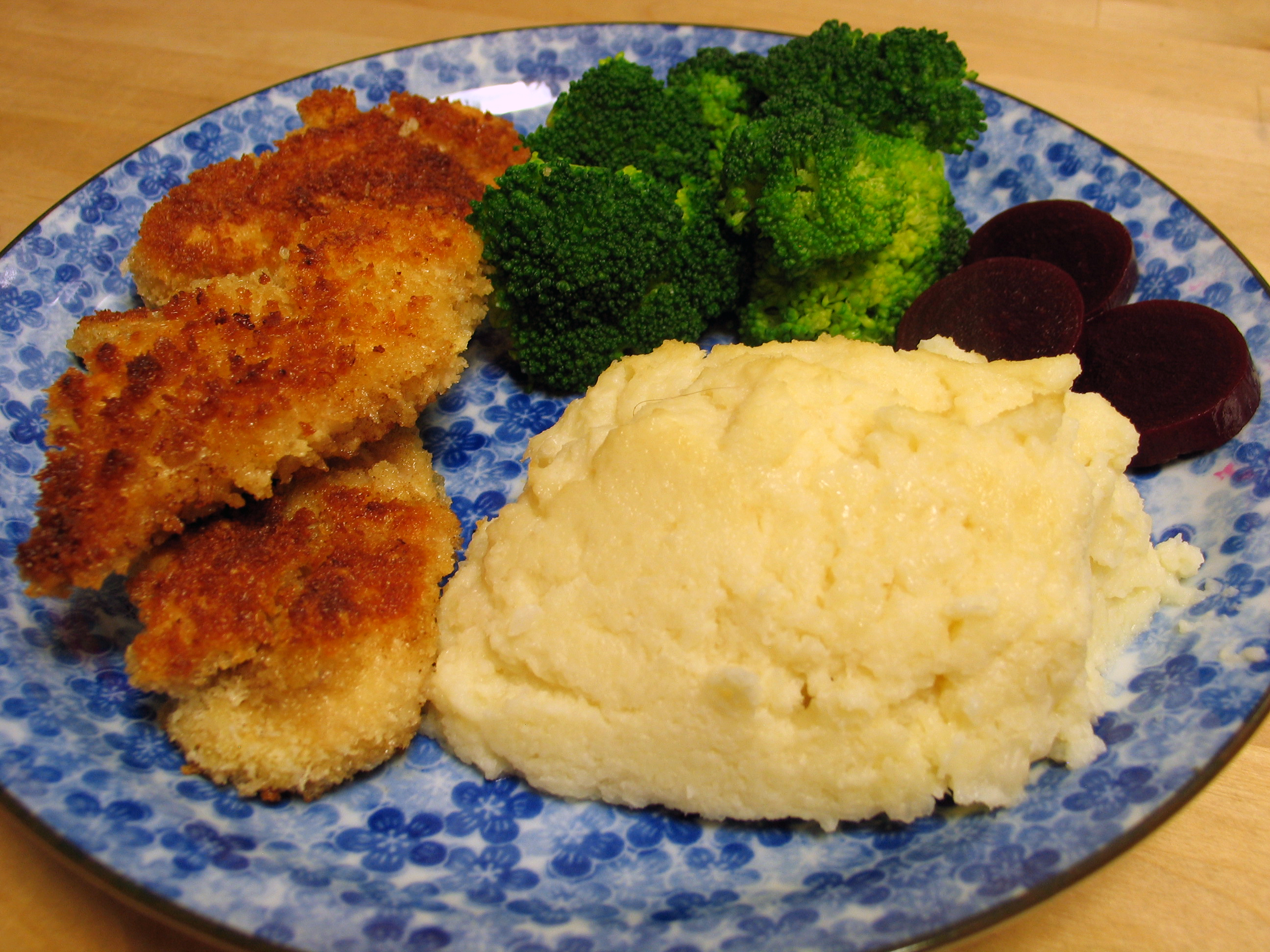 Panko Chicken Cutlets and Whipped Cauliflower