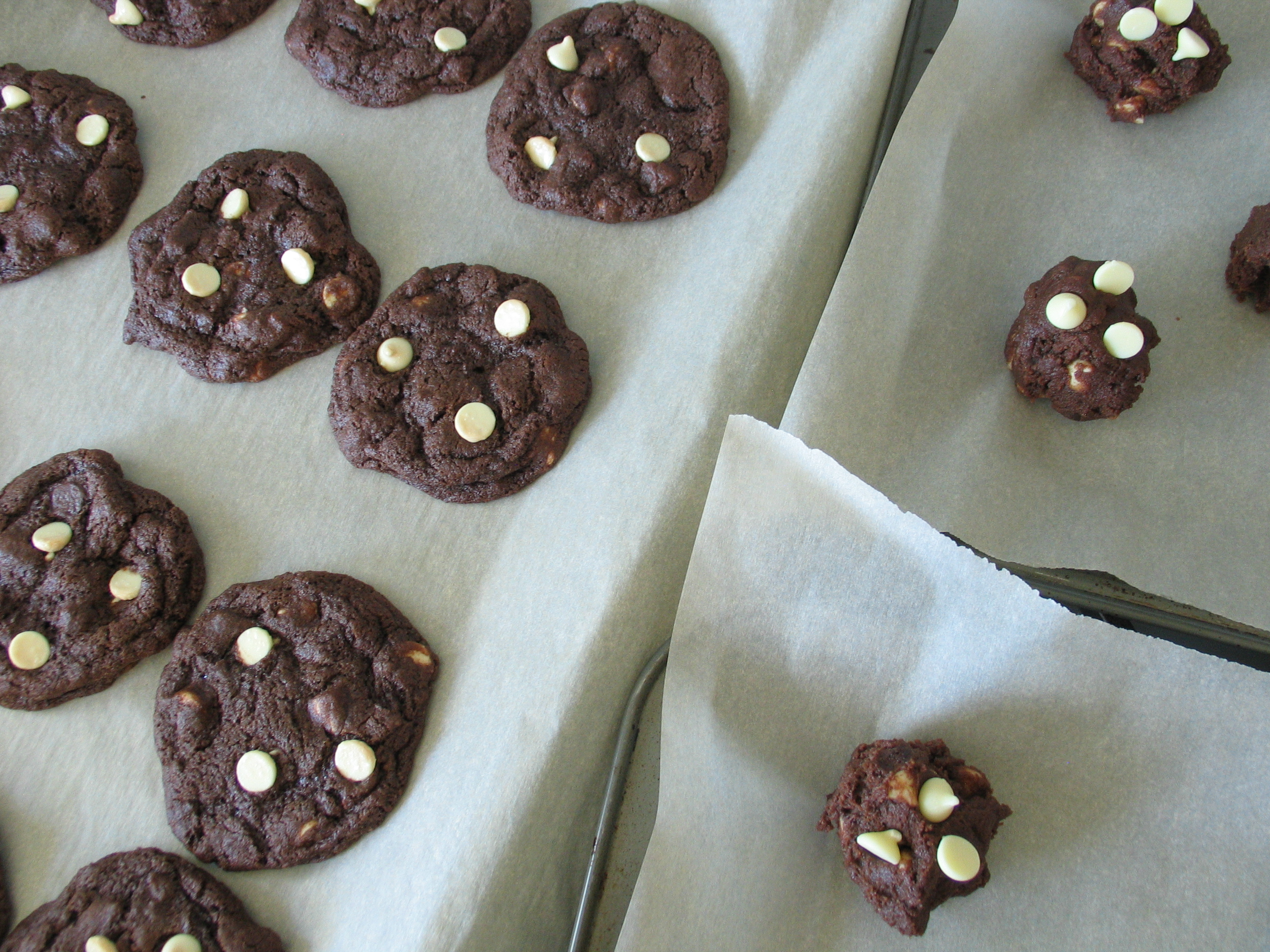 Double Chocolate, White Chocolate Chip Cookies