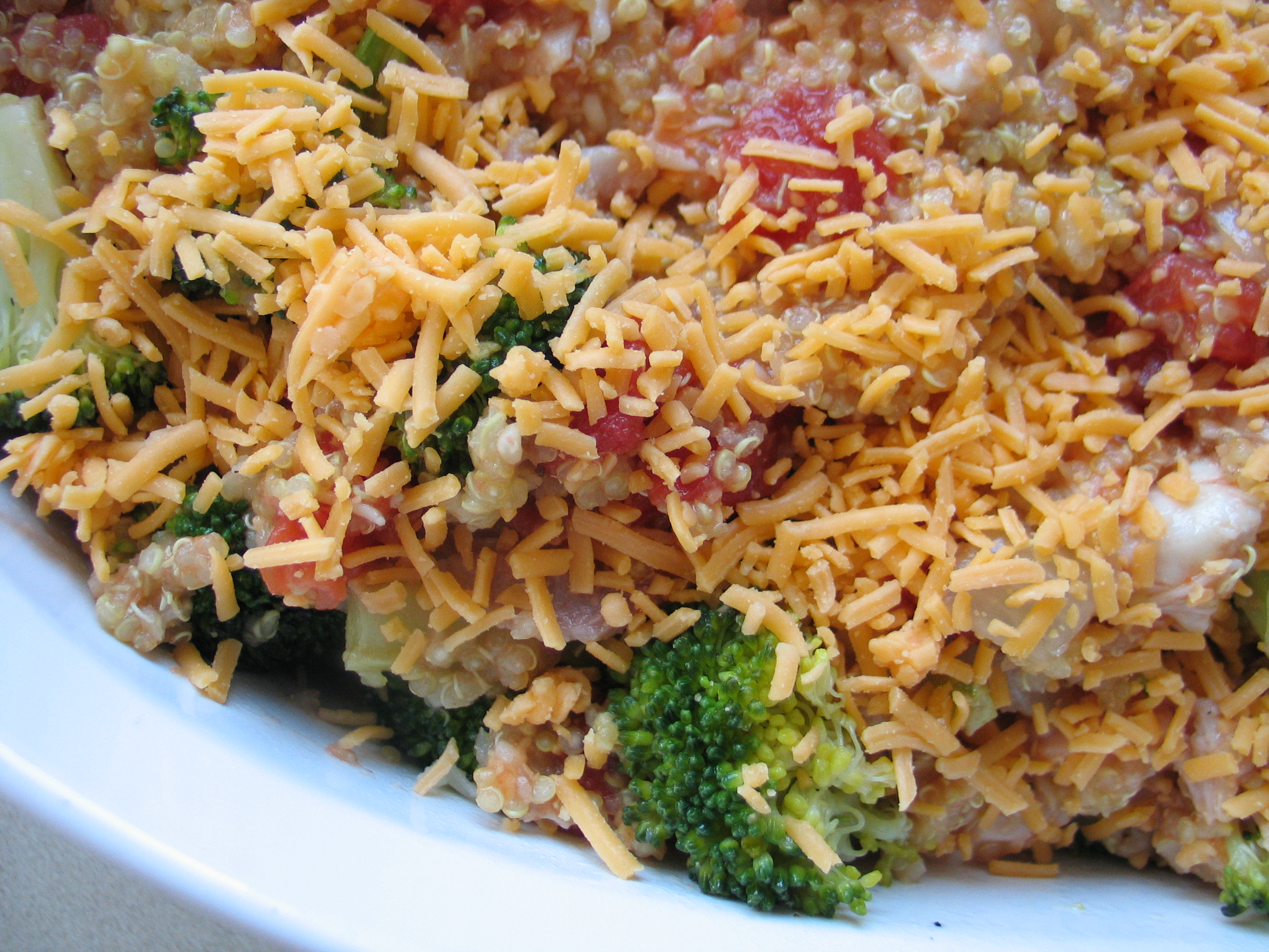 Roasted Broccoli, Chicken and Cheddar Quinoa Bake