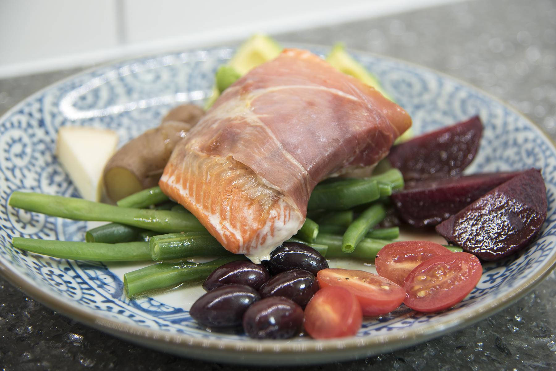Prosciutto-Wrapped Roasted Salmon