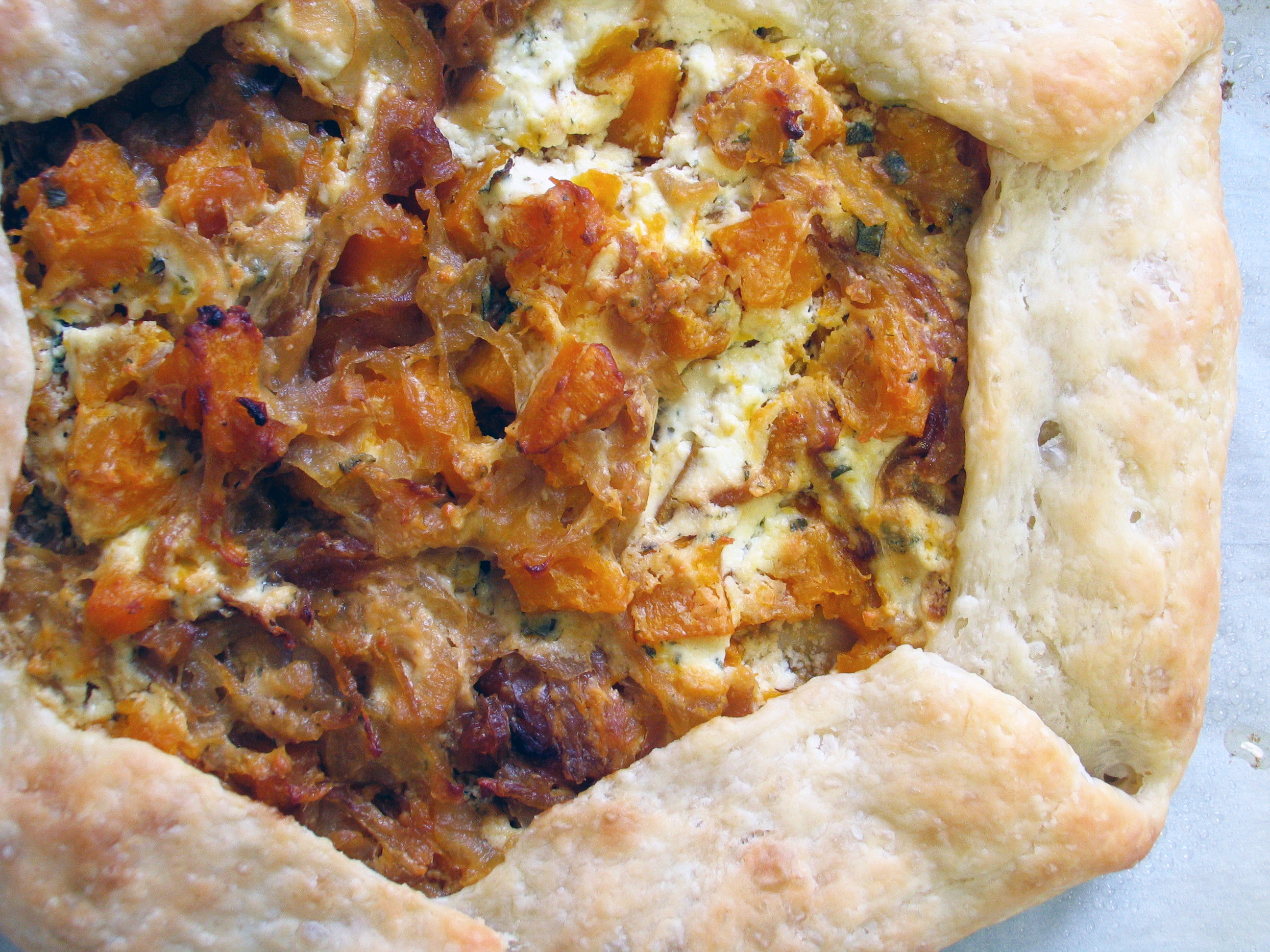 Butternut Squash, Goat Cheese and Caramelized Onion Galette