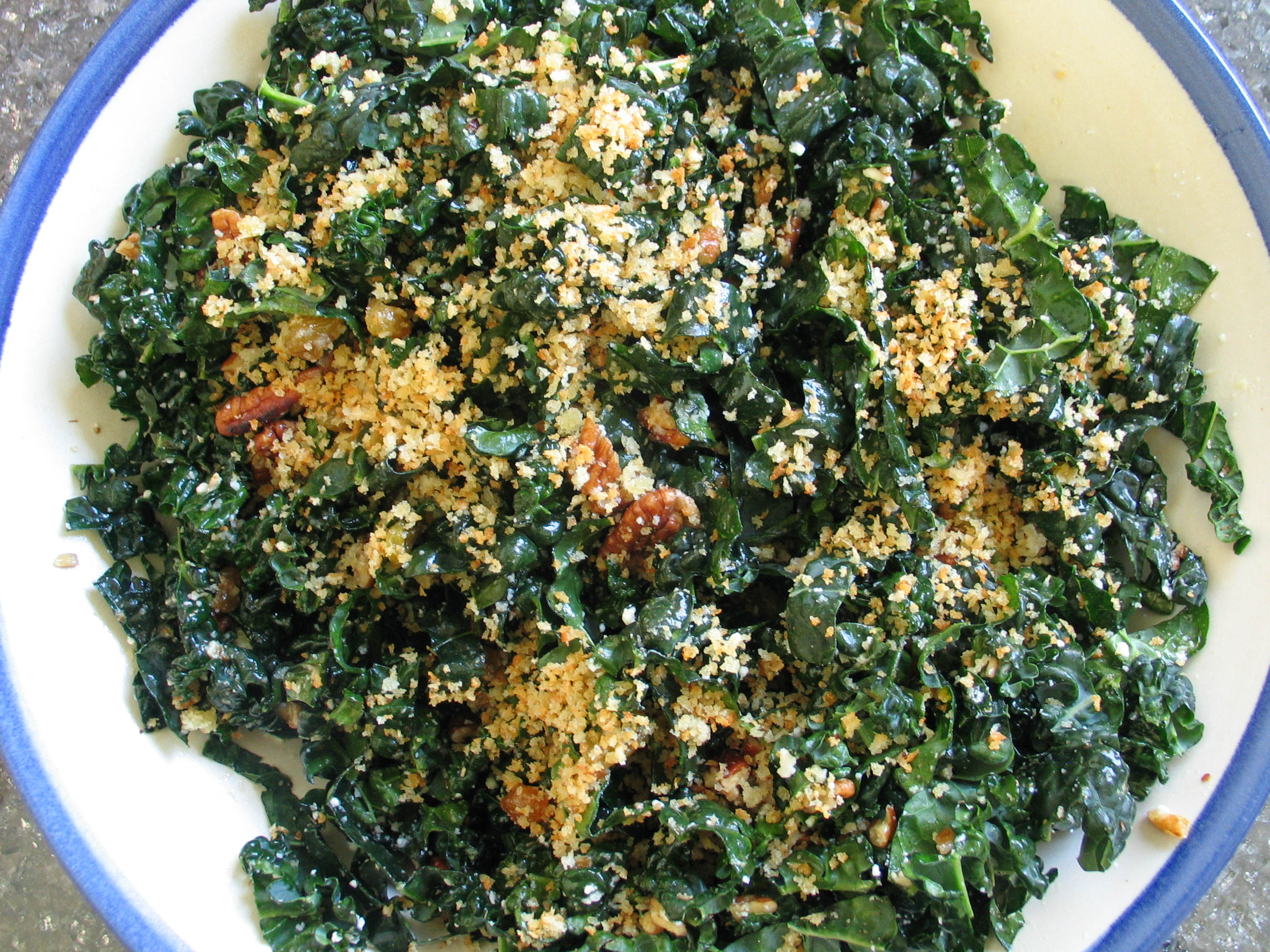 Kale Salad with Panko, Pecorino and Pecans