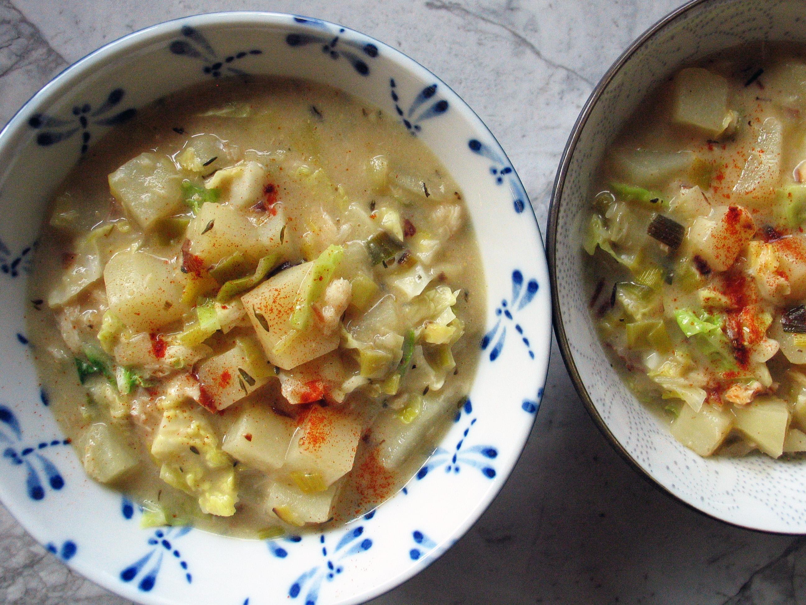 Cabbage and Smoked Fish Chowder