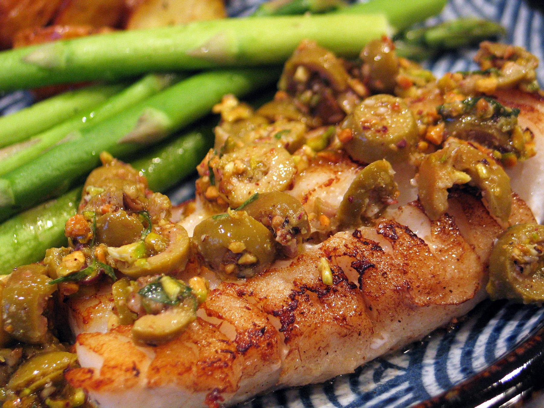 Olive-Pistachio Sauce (for your favorite fish)