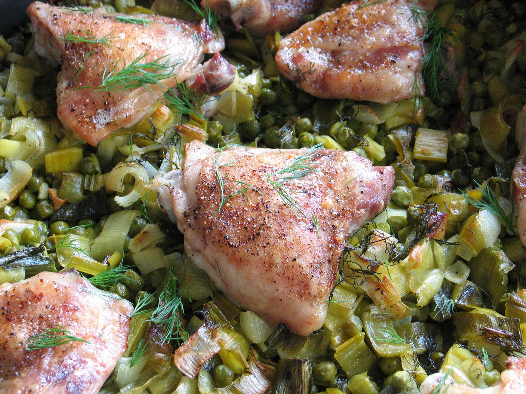 Nigella's Chicken and Pea Traybake
