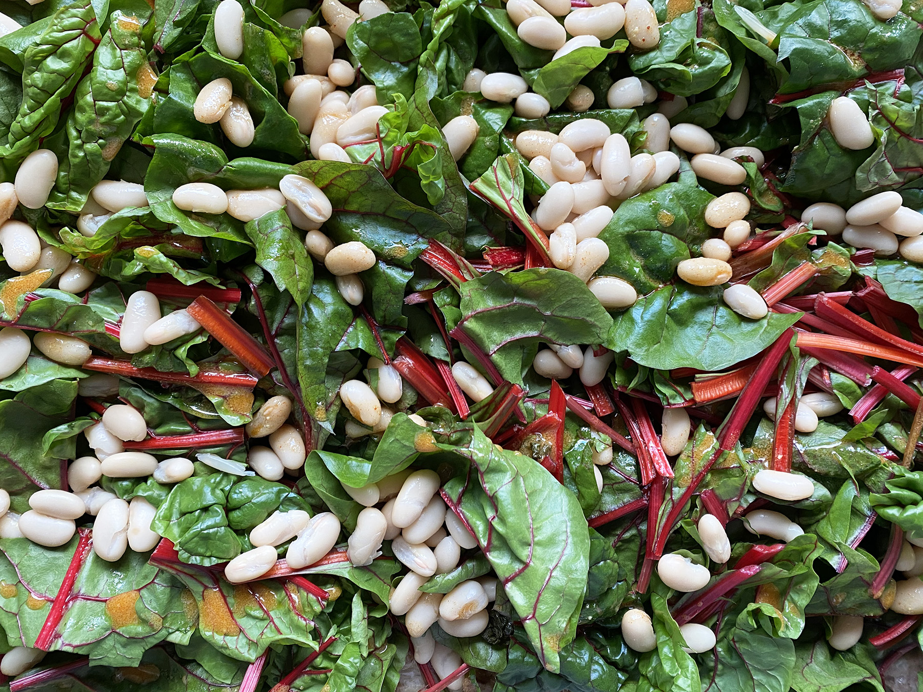 Roasted Sausage, Chard and Cannellini Beans