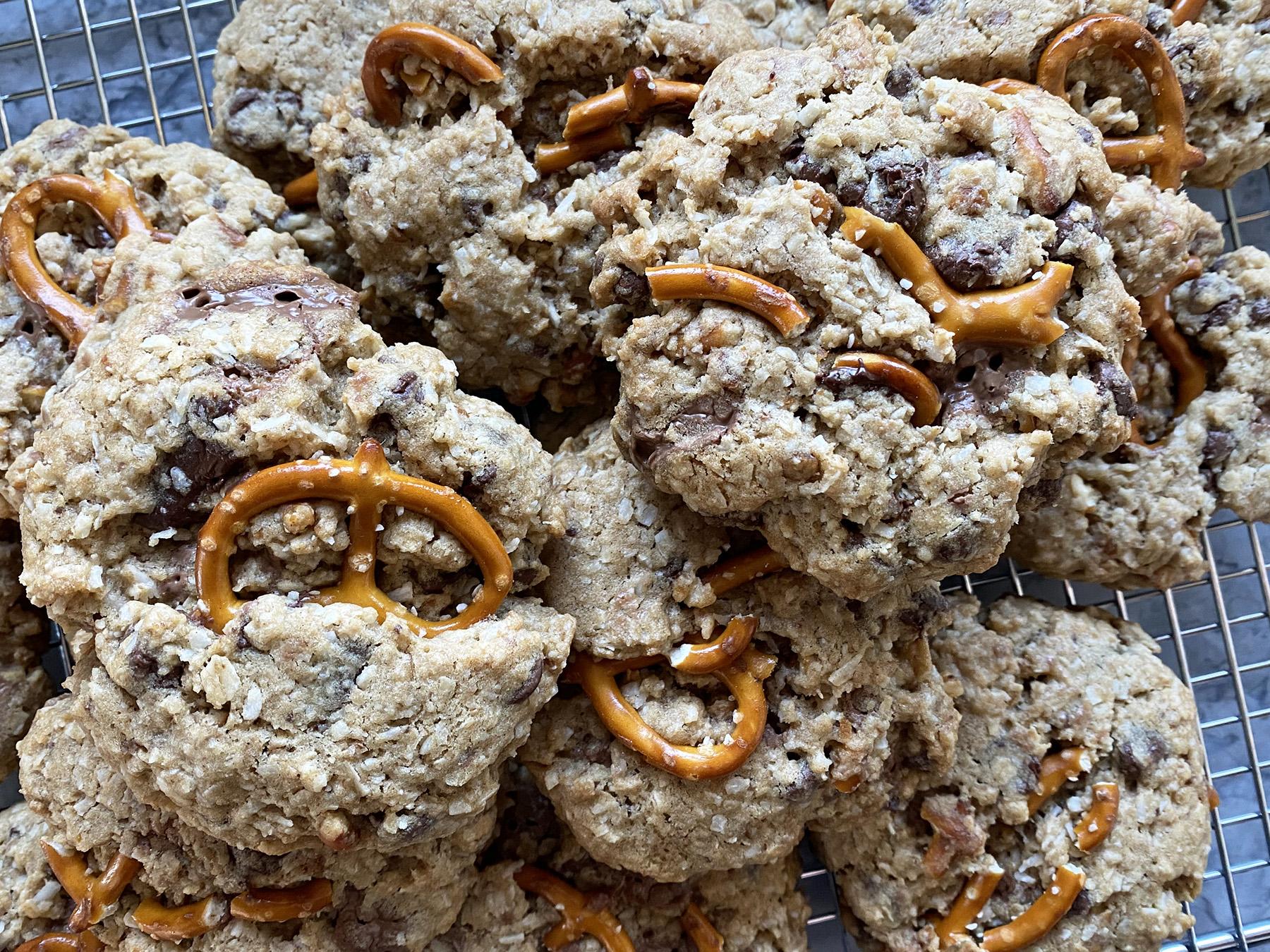 Salted Pretzel Cowboy Cookies