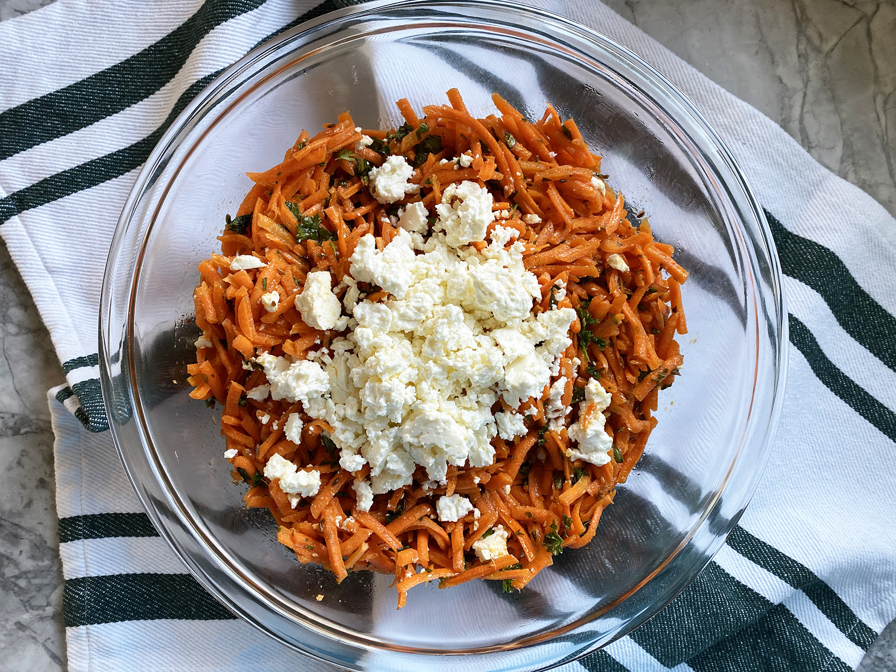 Carrot Salad (with Harissa, Feta and Mint)