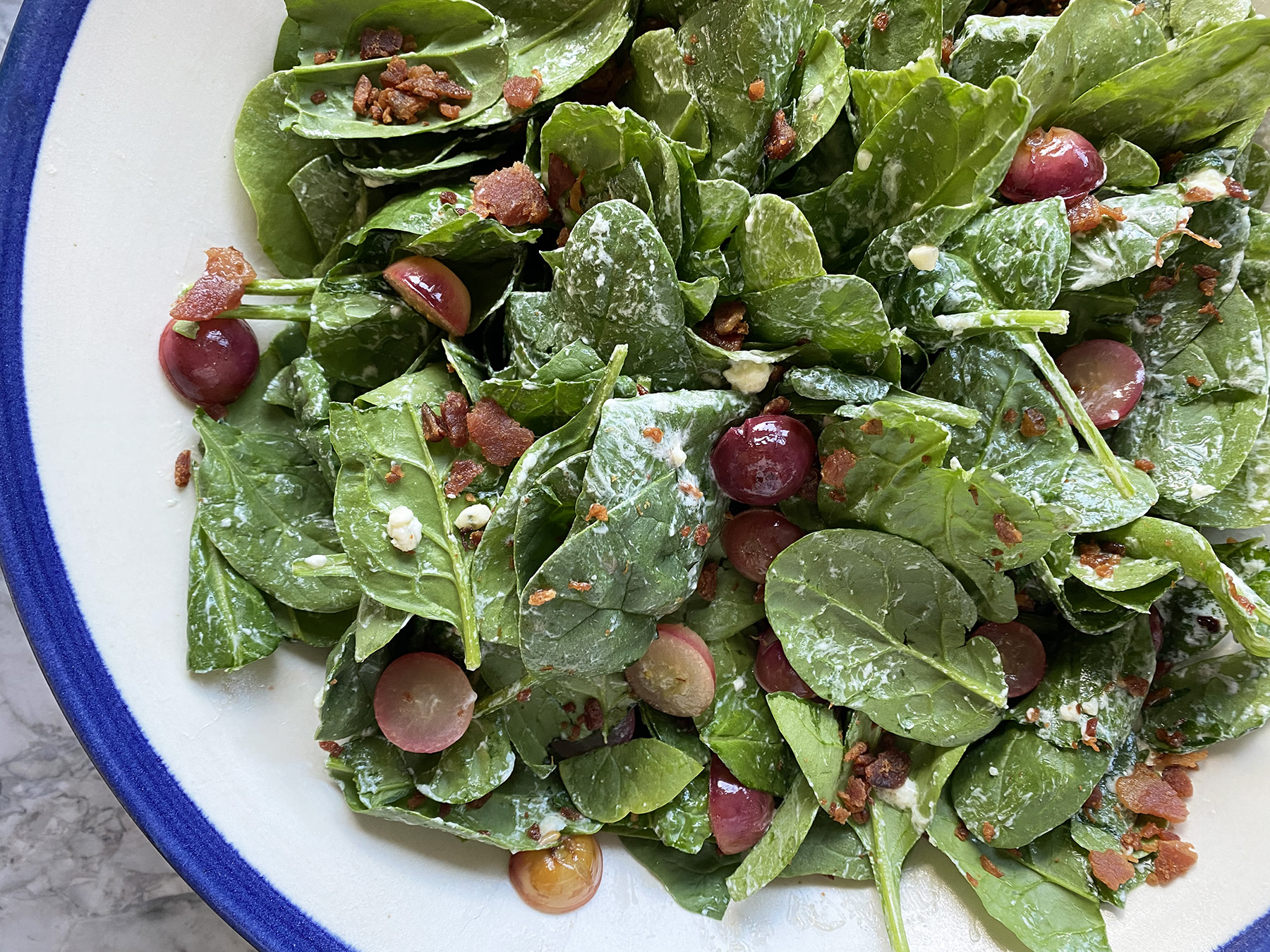 Spinach and Grape Salad (with Roquefort Dressing)