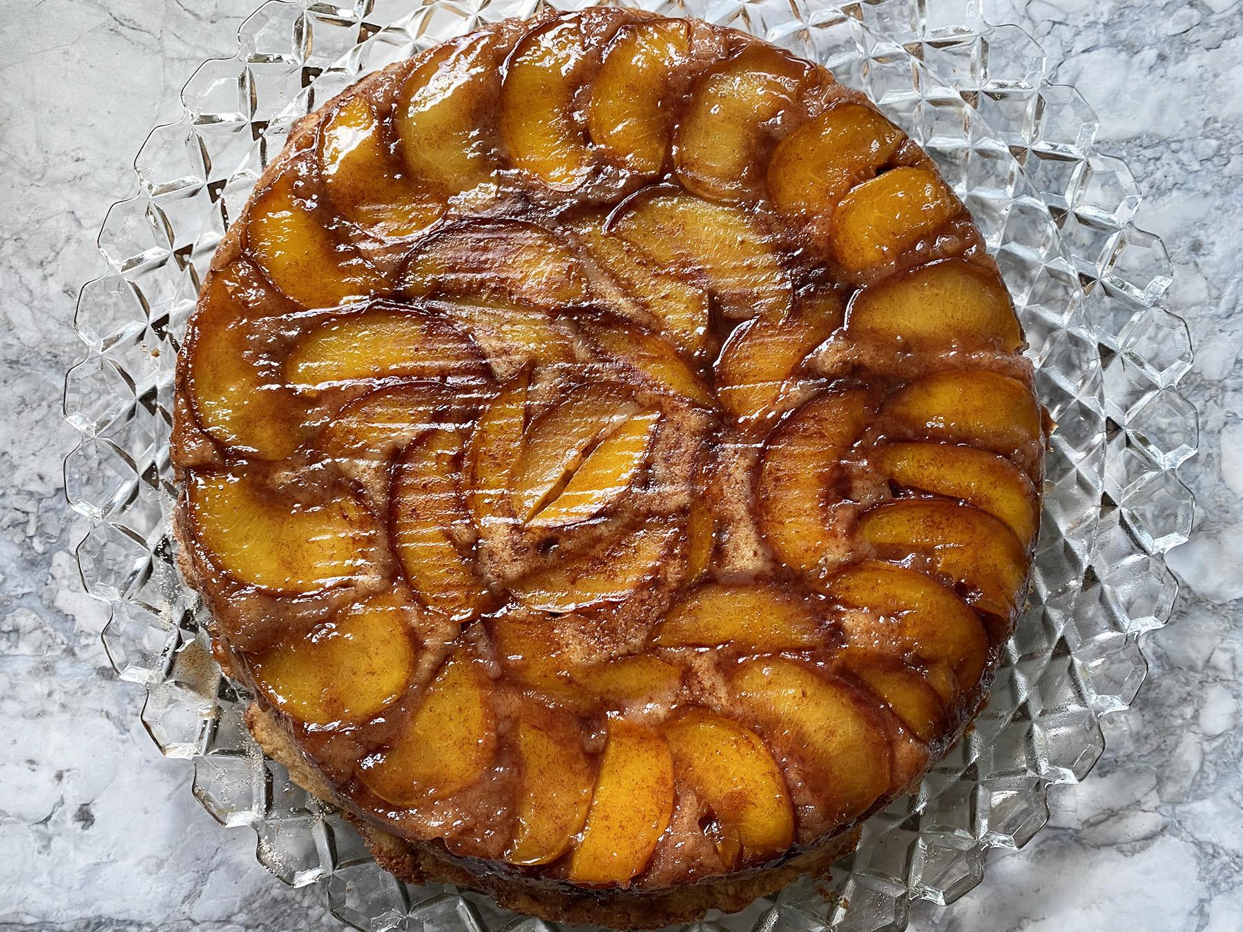 Cinnamon Sugar Peach Upside Down Skillet Cake