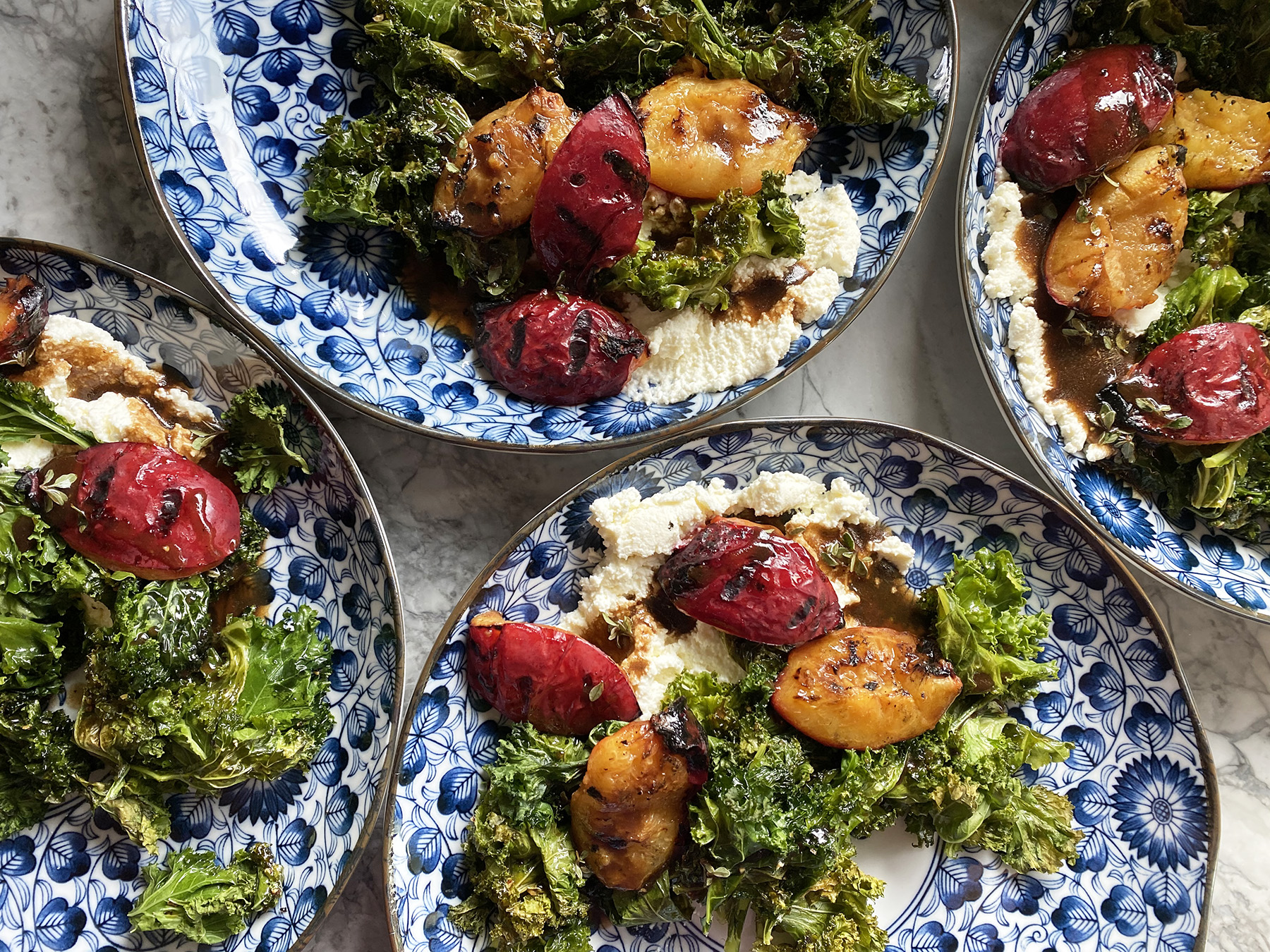 Grilled Kale and Plum Salad (on Ricotta)