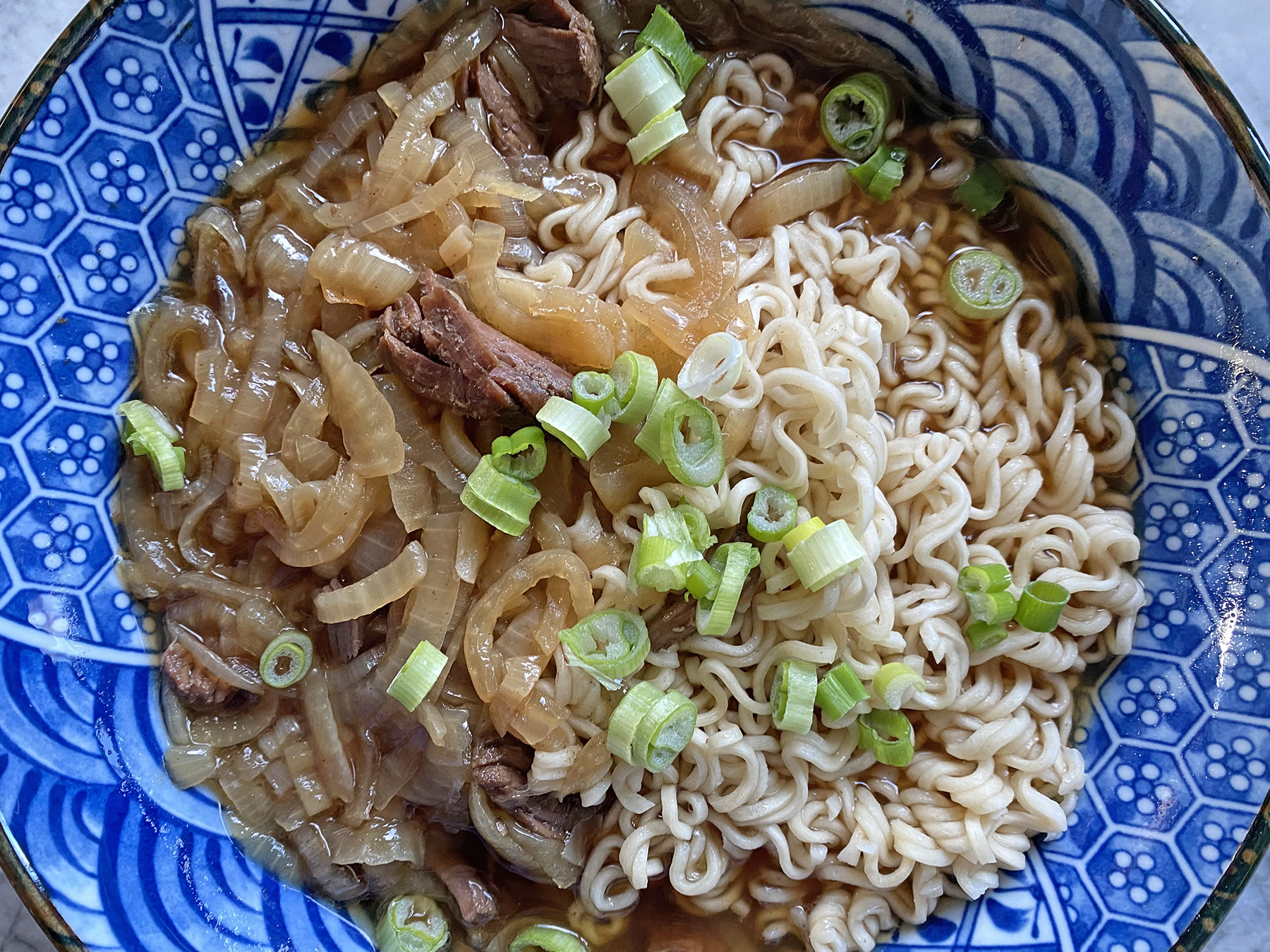 French Onion Beef Noodle Soup