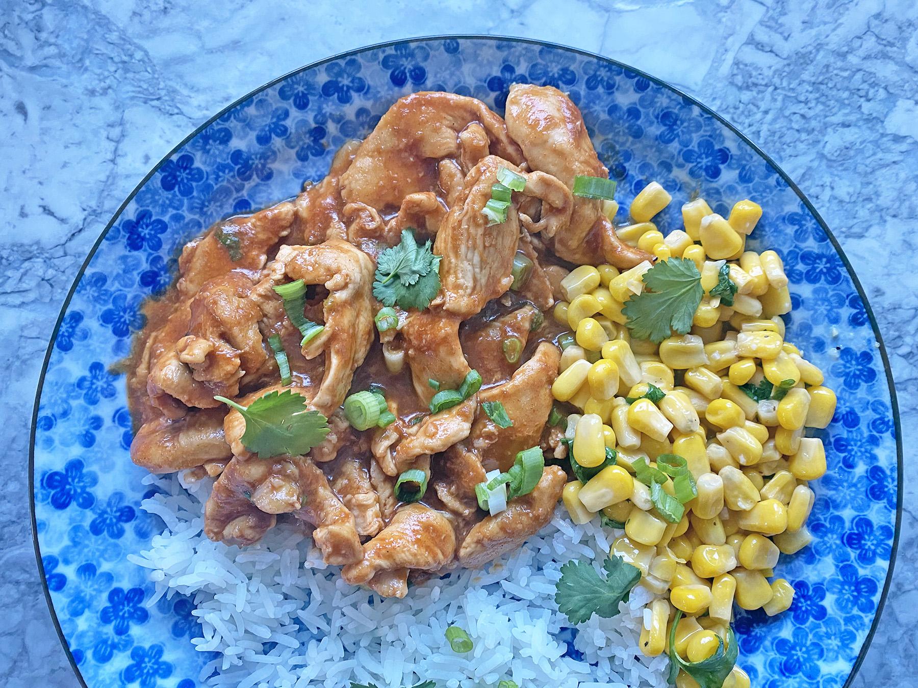 Quick Korean Chicken with Garlic Butter Corn