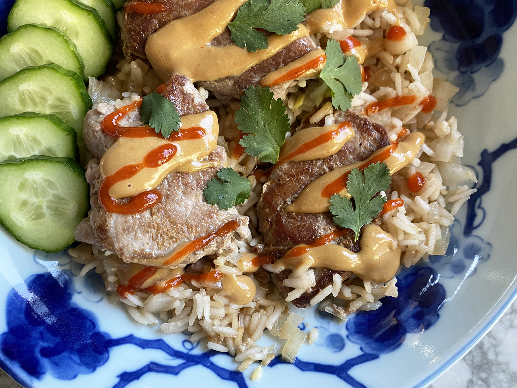 Ginger Chicken (or Pork) and Rice (with SunButter Sauce)