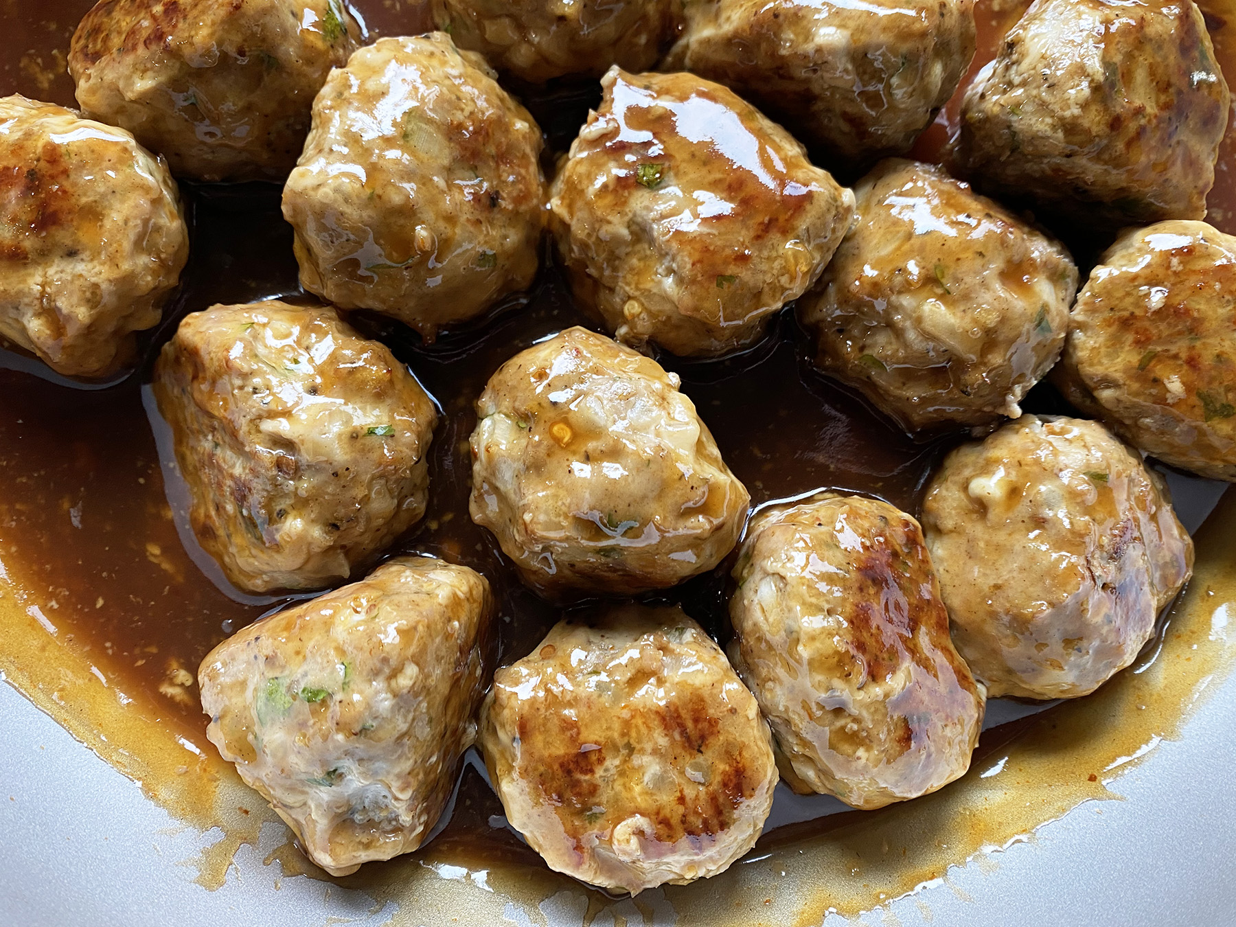 Jerk Chicken Meatballs (with Barbecue Pineapple Glaze)